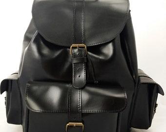 Leather Backpack -Black Leather Rucksack,Three Pocket Satchel-LARGE