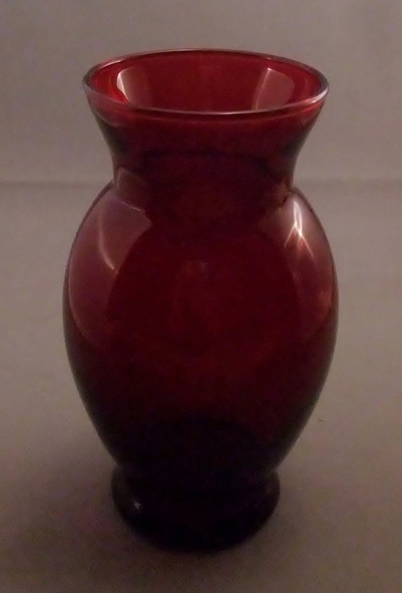 Vintage Ruby Red Vase By Anchor Hocking