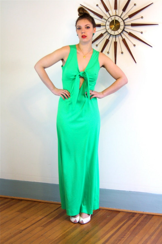 1970s Maxi Dress, Bright Lime Green, 70s disco dress, Bow Tie bust, Sexy Keyhole dress, Long Sleeveless Dress, Cocktail Hostess gown, Size L