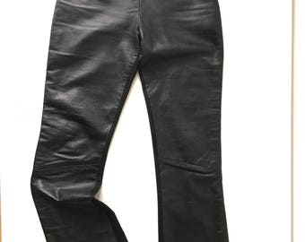 Holiday new year etsy vintage xs small black leather front back polyester pants high waisted 90s sexy cyber vamp clubkid publicscrutiny Gallery