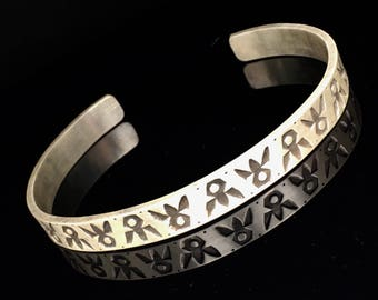 Men's Cuff Bracelet, Stamped Sterling silver, Navajo stampes, men's jewelry