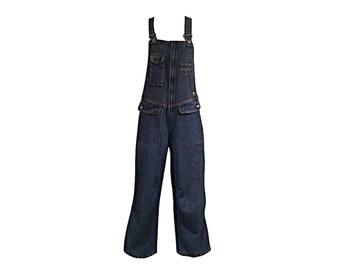 Vintage 90's E.V.E. Blue Denim Wide Leg Women's Overalls with Multiple Pockets