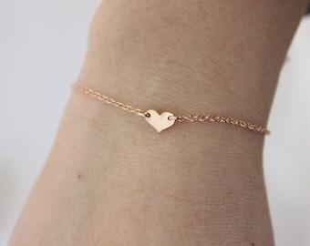 Rose gold heart bracelet, delicate heart bracelet,  simple dainty bracelet, bridesmaid gift, gift for mom, silver bracelet, everyday jewelry