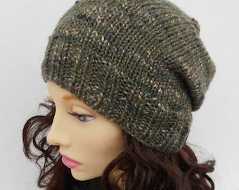 KNITTING PATTERN/ CHARLEY/ Mans Handknit Slouchy Hat Knitting Pattern/ Easy/Knit Round/Mans Slouch Beanie Pattern/ Aran Wool/Stockinette