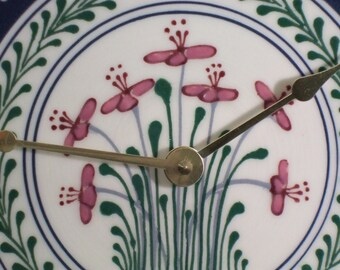 Small Stoneware Clock Red Flowers with Red  Pink and Green Accents Garland - Stoneware Pottery