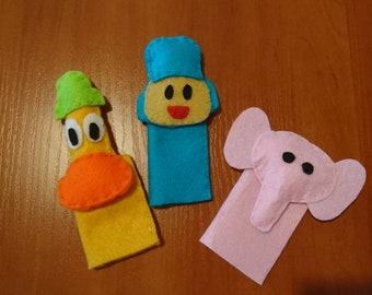 Pocoyo finger puppet, handsewn felt finger puppets, toddlers toy