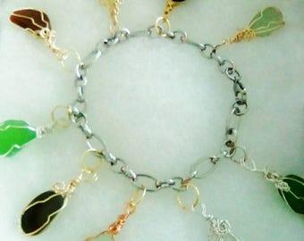 D. Bain: Bahamian Handmade Multicolored Seaglass Charm Bracelet