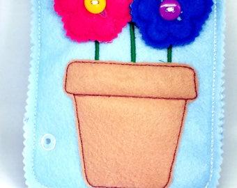 Felt quiet book - Toddler quiet book - Quiet book page - Toddler busy book - Busy book page - Felt busy book - Button flower page  #QB29