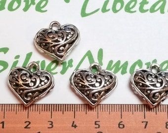 4 pcs per pack 20mm 9mm thickness Reversible Filigree Paisley Heart Pendant Antique Silver Finish Lead Free Pewter