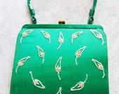 Green Satin Beaded Soure' Purse Vintage