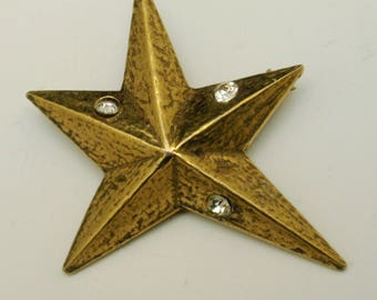 Star Brooch Pin Vintage Rhinestones