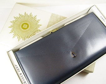 Vintage Wallet, Blue Grey Leather, Faux Opal and Gold Tone, 60s, French Clutch, Lady Buxton / Vintage Ladies Wallet - Porte-Monnaie.