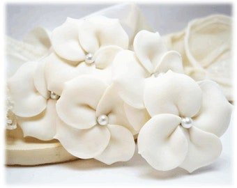Hydrangea Pearl Hair Flowers - Hydrangea Hair Clip Pins, Hydrangea Wedding Hair Accessories