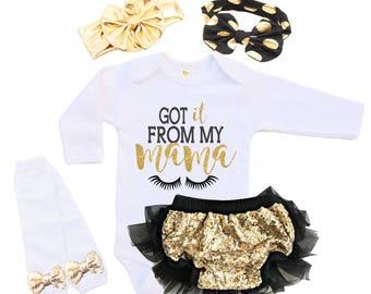 Baby Shower Gift - New Baby Girl Gift - Newborn Baby Girl Outfit Baby Girl Outfit - Got It From My Mama - Black and Gold