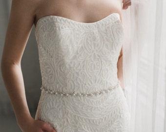 Thin Bridal Belt | Pearl and Crystal Bridal Sash | Rhinestone Wedding Sash Belt | Silver Phoebe Sash