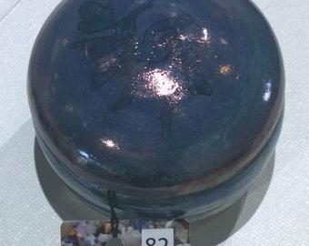 JBVL1 Jewelery trinket box Violet lustre  feather design over blue underglaze.