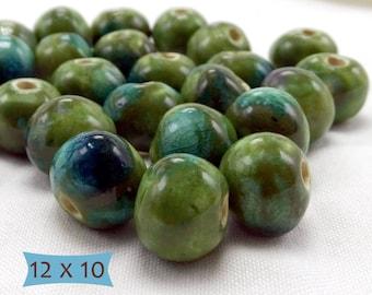 Handcrafted Fair Trade Big Ceramic Retro Style Beads Blue Green—10 Pcs   33A-12 OJ-10