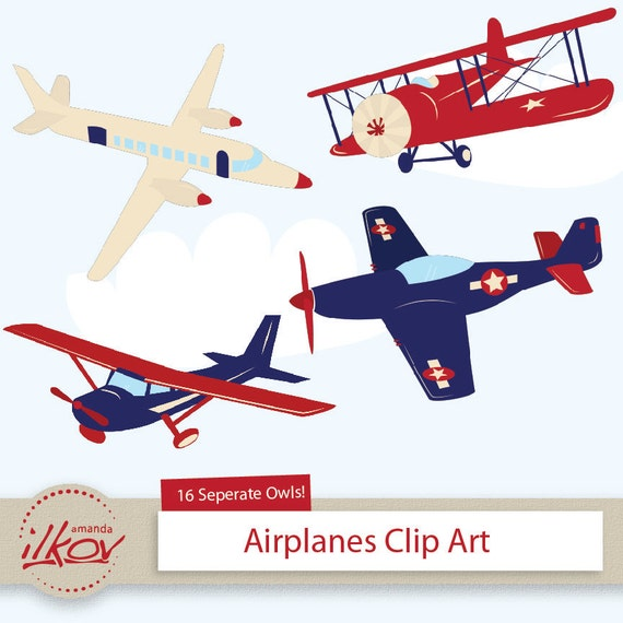 Professional Kids Airplane Clipart for Digital Scrapbooking