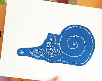 Sigla and The Snail. Handprinted lino cut. Blue book print. Reading. Librarian. Nature. Magic.
