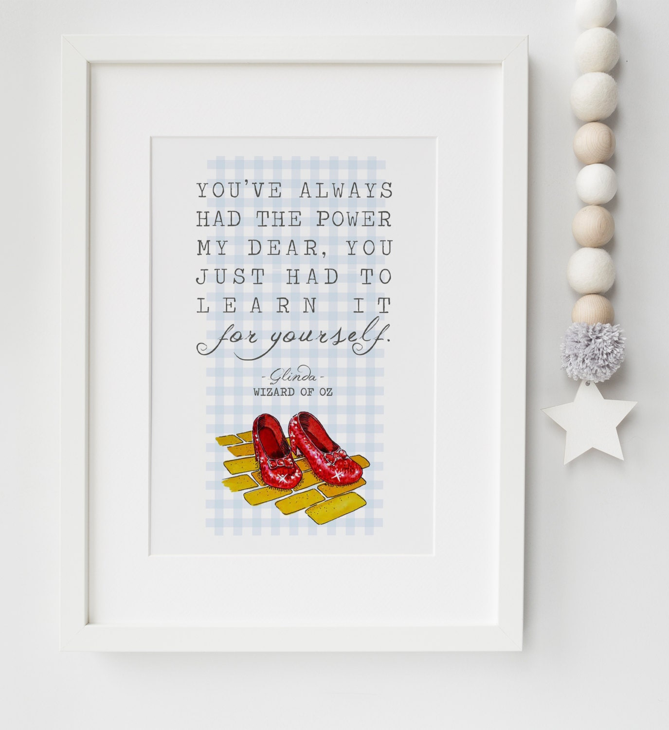 The Wizard Of Oz Glinda Dorothy Red Shoes Quote Print Keepsake ...