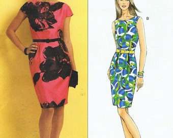 Chetta B Womens Lined Fitted Dress One Piece Dress OOP Butterick Sewing Pattern B5316 Size 6 8 10 12  Bust 30 1/2 to 34 UnCut