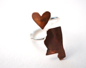 Mississippi Twist Place Ring (Sterling Silver & Copper Place State Love Map Ring)