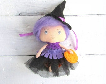 Primitive witch doll Little witch Art doll Handmade Halloween witch doll Purple witch Kawaii chibi doll Pastel witch doll Gothic doll OOAK