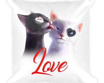 Cat Love Pillow - Cat decorative Pillow - Cat Lover Gift - Pet Pillow - Cat decorative pillow - Cat lover pillow - Cat gift - cat