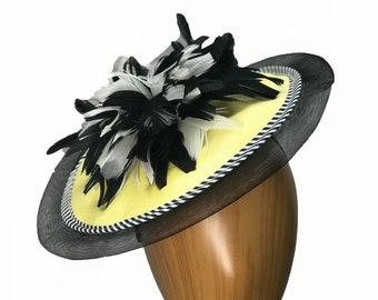 Designer Yellow and Black Satin, Crinoline Fascinator. Medium size. Derby. Ascot, special occasion, and more.