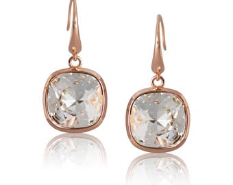 Classic Crystal & Rose Gold Cushion 10mm Drop Earrings