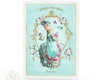 Marie Antoinette, card, high tea, pink macarons, French, vintage tea party, birthday card, gold frame, pink roses, blue, blank card
