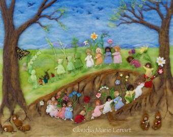 Root Children Print of Needle Felt Wool Painting, Waldorf Nursery Art, 8 by 10, 11 by 14