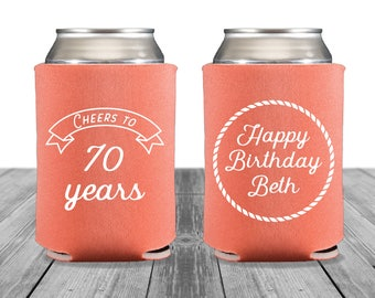 Birthday Neoprene Can Coolers, Personalized Coolies, Custom Coolies, Birthday Can Huggers, Cheers, 30th, 40th, 50th, 60th, 70th, 1347
