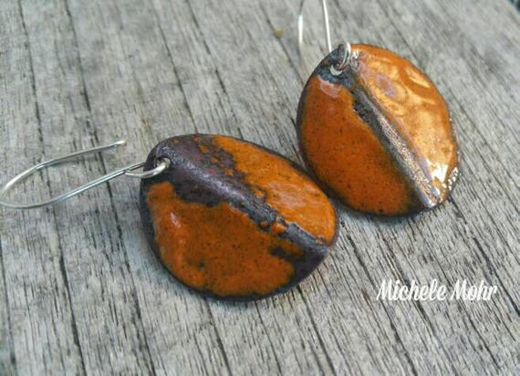 "Autumn Arrives Vitreous Enamel Copper and Sterling Silver 1"" Burnt Orange Earrings"