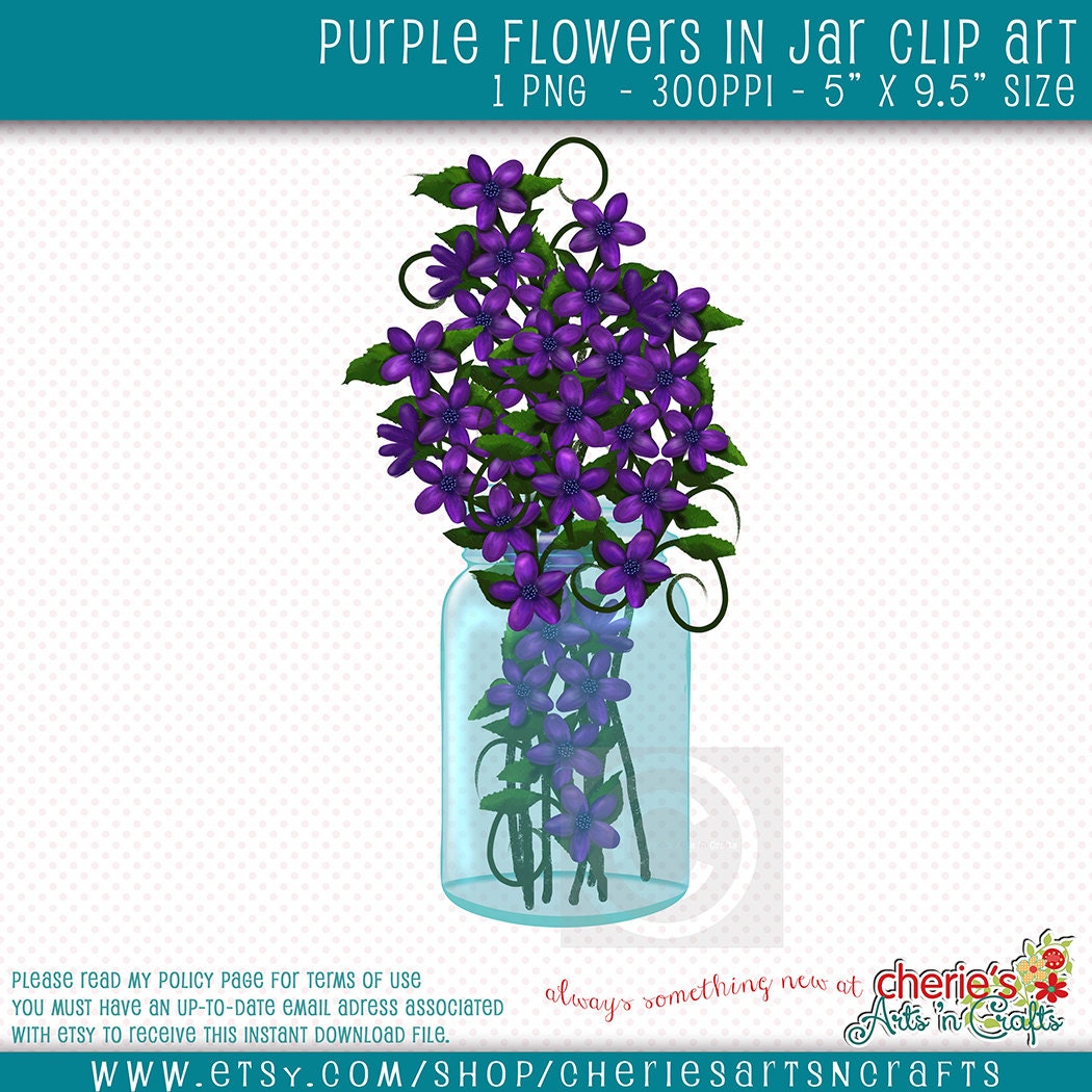 Purple Flowers In Canning Jar Clip Art Canning Jar Cliparts