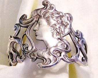 Victorian Revival Silver Cuff Gibson Girl Bracelet