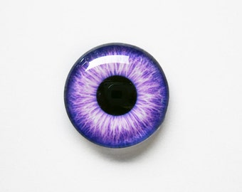20mm handmade glass eye cabochon - purple eye - standard profile
