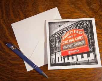 1313 World Champions Fine Art Note Cards Single Cards or 5 pack- Vintage Look - Chicago Cubs - Baseball - Wrigley Field