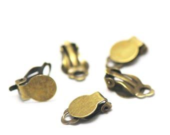 10 small blank 10mm clip earrings, bronze