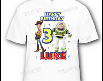 Personalized Disney Toy Story Woody Buzz Birthday T-Shirt