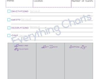 Birthday Party Planner - PDF File/Printable