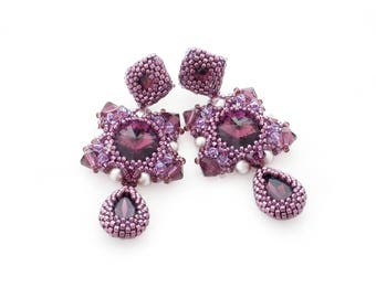 Amethyst purple beadwork earrings with Swarovski crystals and glass pearls
