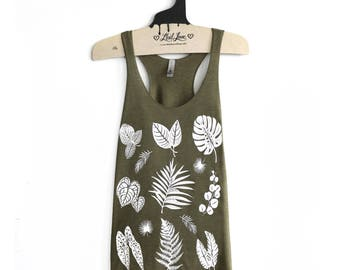 Medium- Olive Tri-Blend Racerback Tank with Plant Print Screen Print