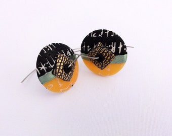 Disk earrings Halloween 1 by Marie Segal, new design, handmade earwires in stainless steel