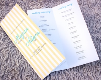 "Beach Wedding Programs, Destination Wedding Programs, Yellow and Aqua Wedding Invitations - ""Sophisticated Stripe"" Booklet Program - DEPOSIT"