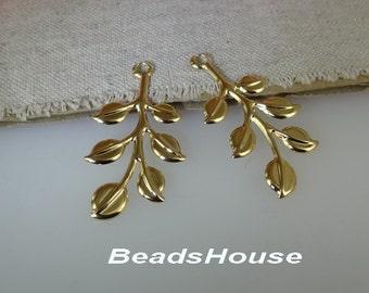 4 pcs - (20 x 40mm) Raw Brass Branch Tree Filigree ,Nickel Free