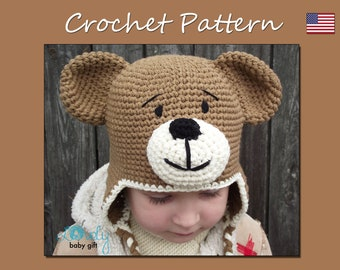 Earflap Teddy Bear Hat Crochet Pattern, Toddler Hat, Baby Winter Hat Pattern, CP-304