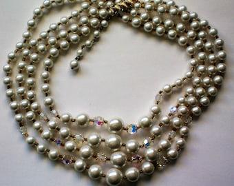 Four Strand Aurora Borealis Bead & Faux Pearl Necklace - 5052
