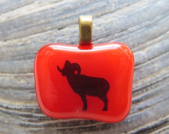 0057 - Ram on Red Fused Glass Pendant