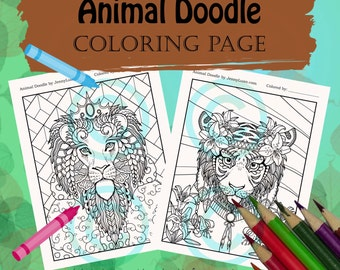 Animal Doodle Coloring Page for Adult Coloring Big Cat Lion king and Tiger Lily in Tangle style